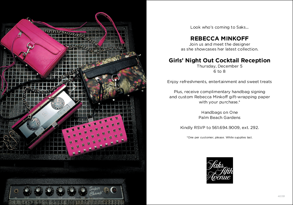 Rebecca Minkoff At Saks On December 5 Veryallegra