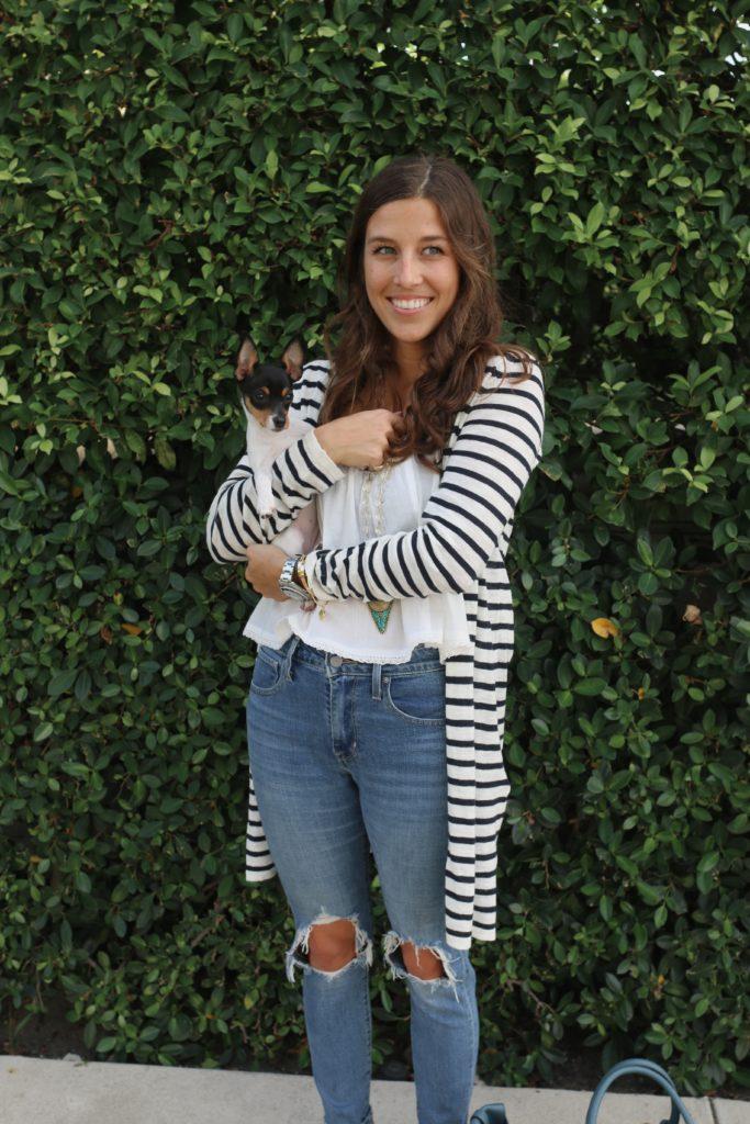 Striped Sweater & One Cute Puppy