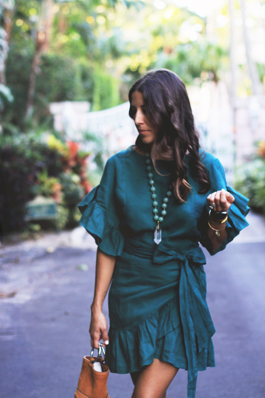 Green Dress with Ruffles + Crystal Necklace