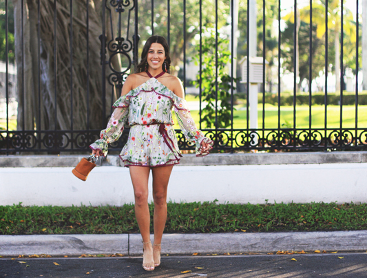 Alexis Floral Romper with cold shoulders