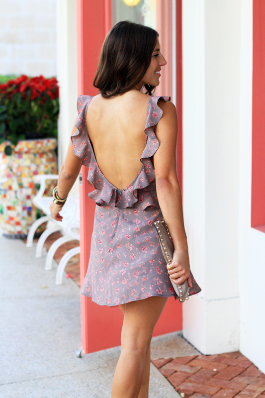 Backless Floral Mini with Ruffles
