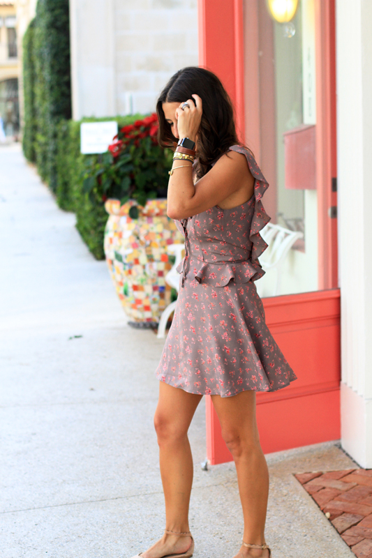 Backless Floral Mini in Front of Peach Door