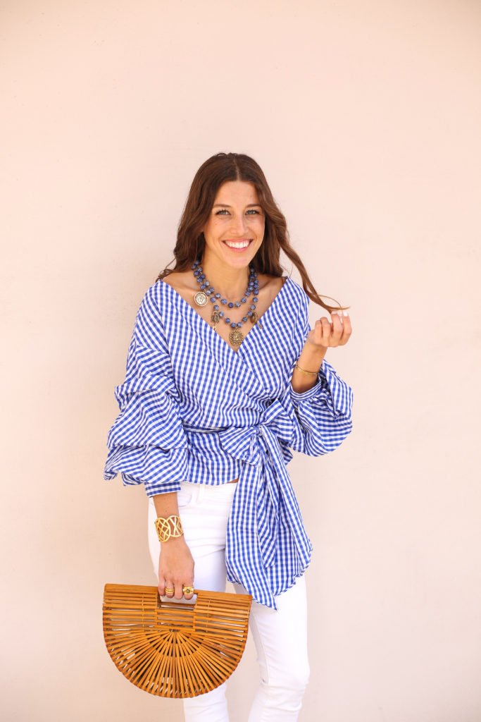 Blue Plaid Wrap Top & Sleeves 4