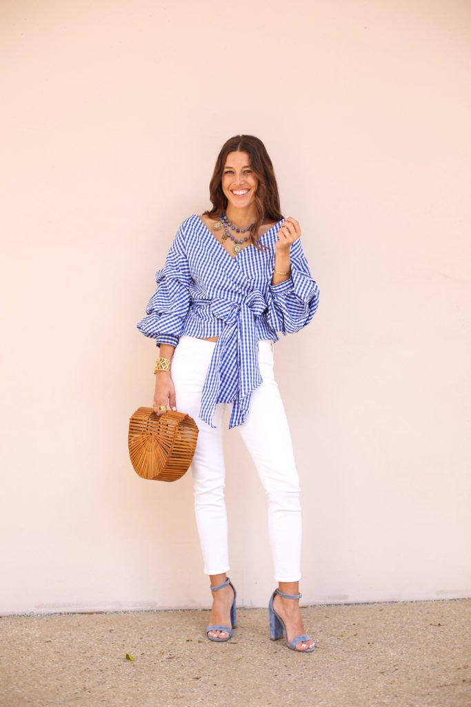 Blue Plaid Wrap Top & Sleeves 5
