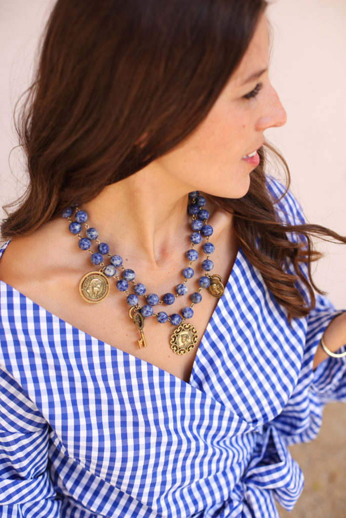 Blue Plaid Wrap Top & Sleeves 2