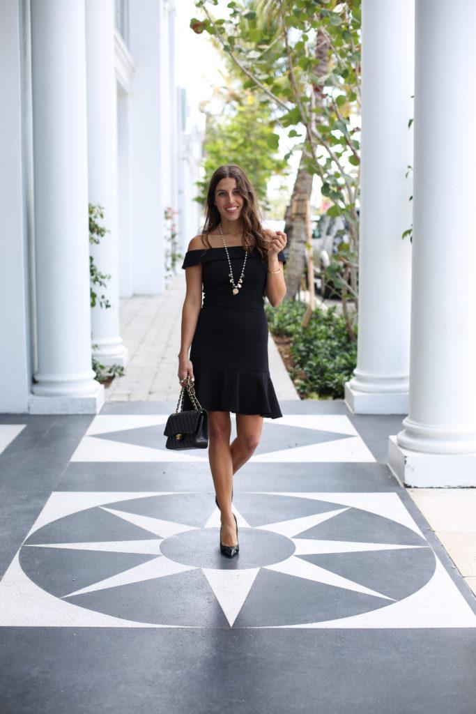 Little off the shoulder black dress 5