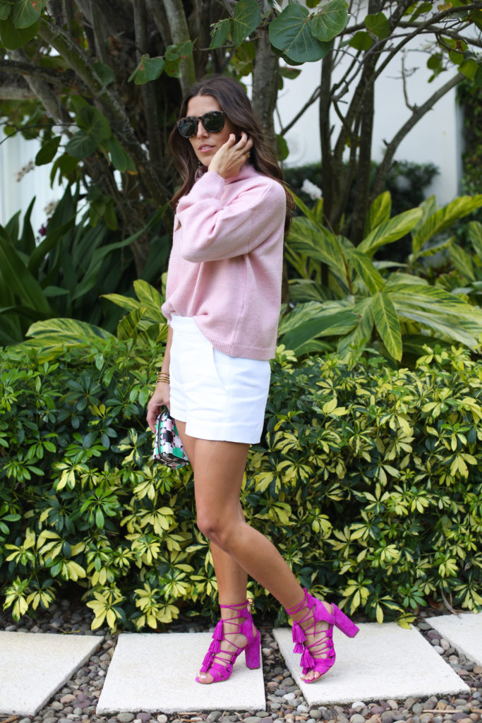 Pink Turtleneck Sweater with White Shorts