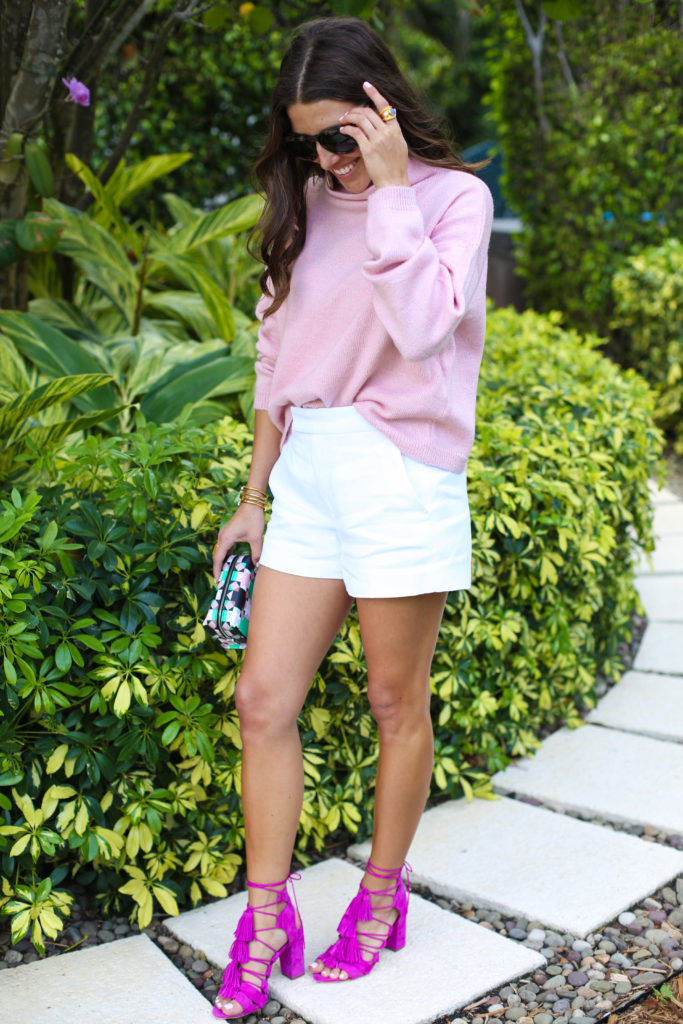 Pink Turtleneck Sweater with shorts & heels