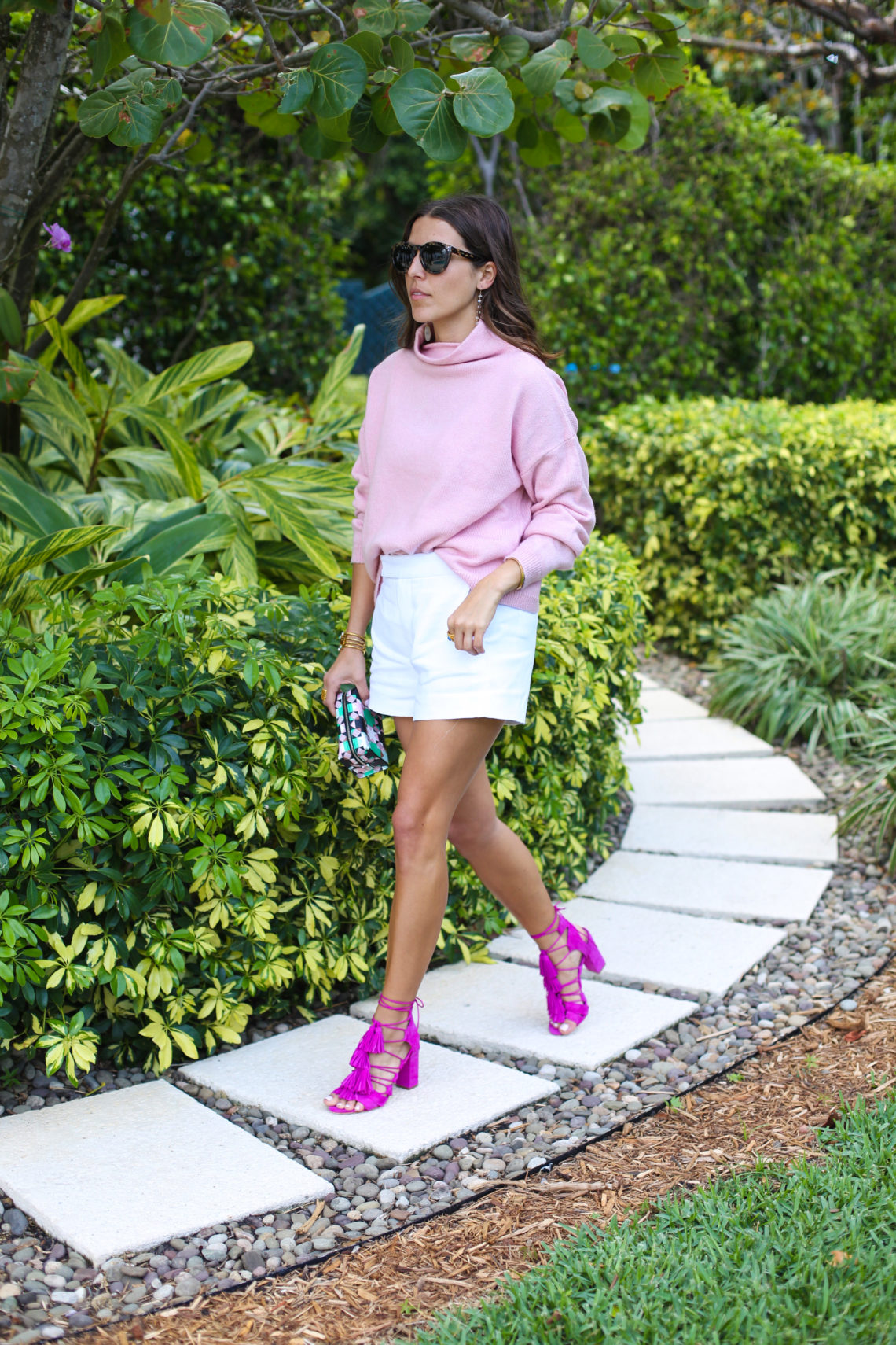 Pink Turtleneck Sweater & Shorts