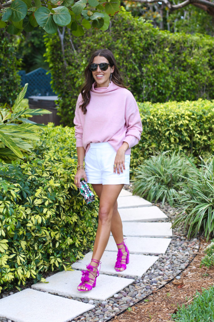 Pink Turtleneck Sweater for florida winter