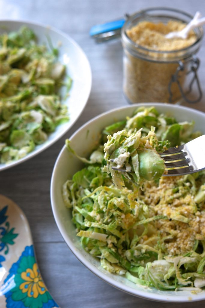 Vegan Caesar Salad with Shaved Brussel Sprouts & Vegan Parmesan 2