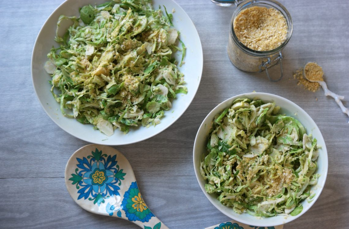 Vegan Caesar Salad with Shaved Brussel Sprouts & Vegan Parmesan