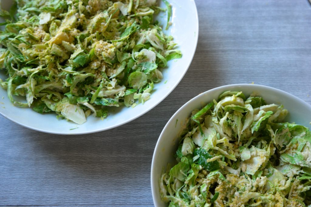 Vegan Caesar Salad with Shaved Brussel Sprouts & Vegan Parmesan 5