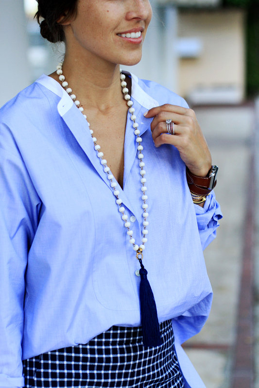 Borrowed From The Boys - Oversized Button Down with blue tassel