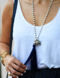 Navy Alexis Skirt & Navy Flats Necklace details