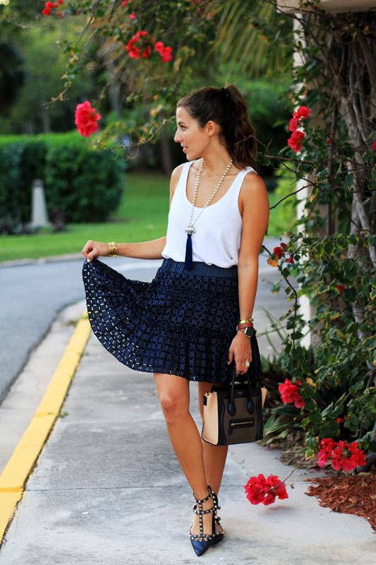 Navy Alexis Skirt & Navy Flats