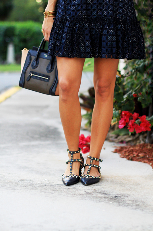 Navy Alexis Skirt & Navy Flats shoe shot