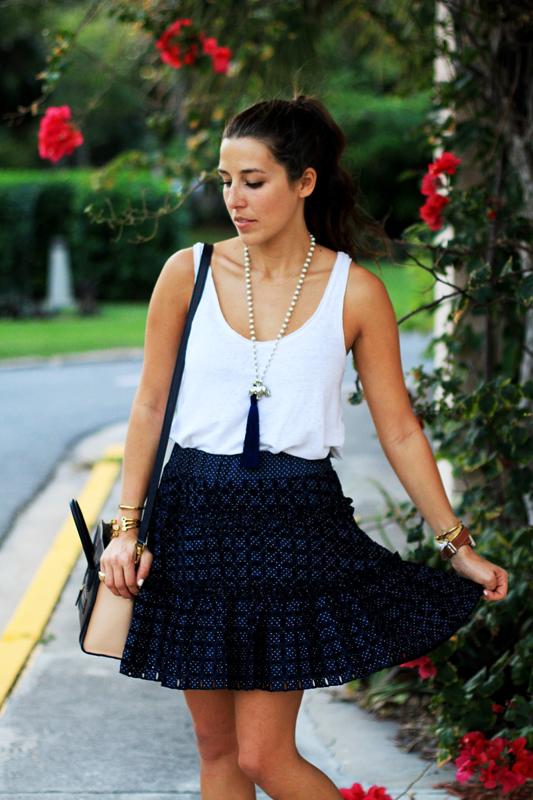 Navy Alexis Skirt & Navy Flats Twirl