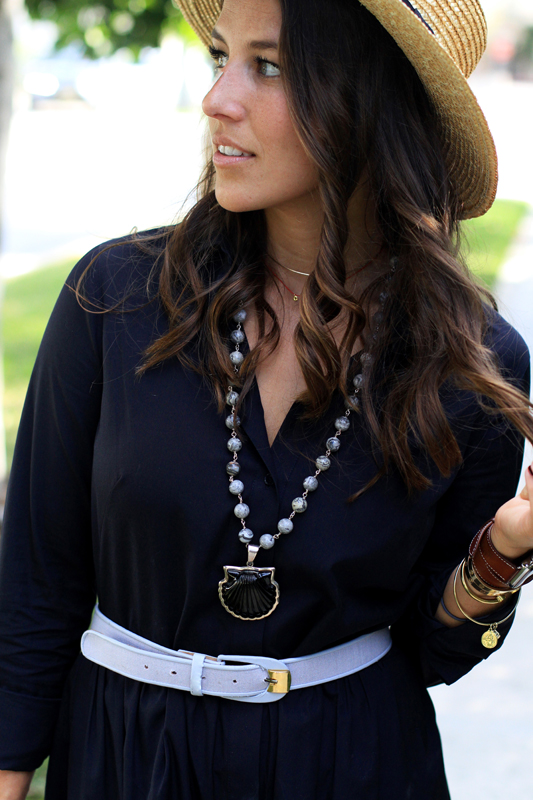 Shirtdress + necklace