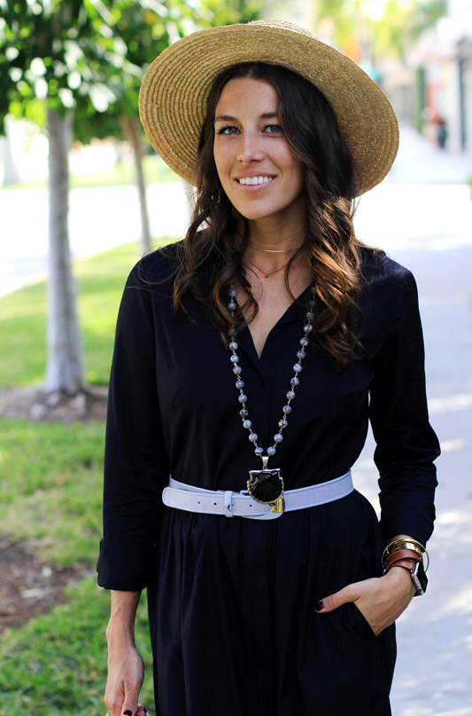 Shirtdress + Shell Necklace