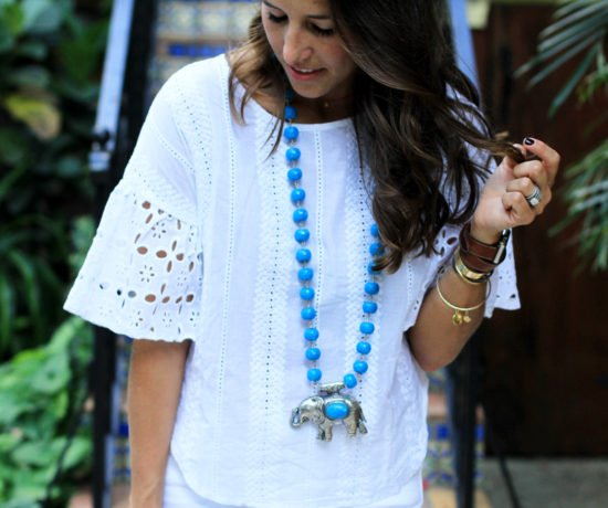 All White With Pops of Turquoise necklace