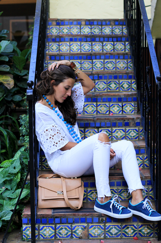 All White With Pops of Turquoise and ripped jeans