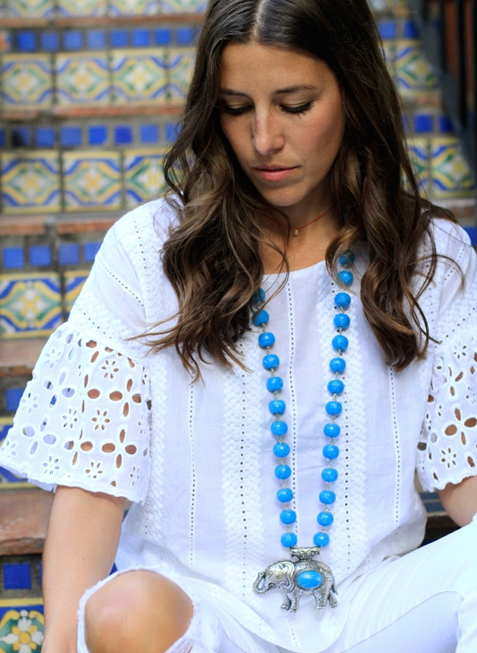 All White With Pops of Turquoise eyelet sleeves
