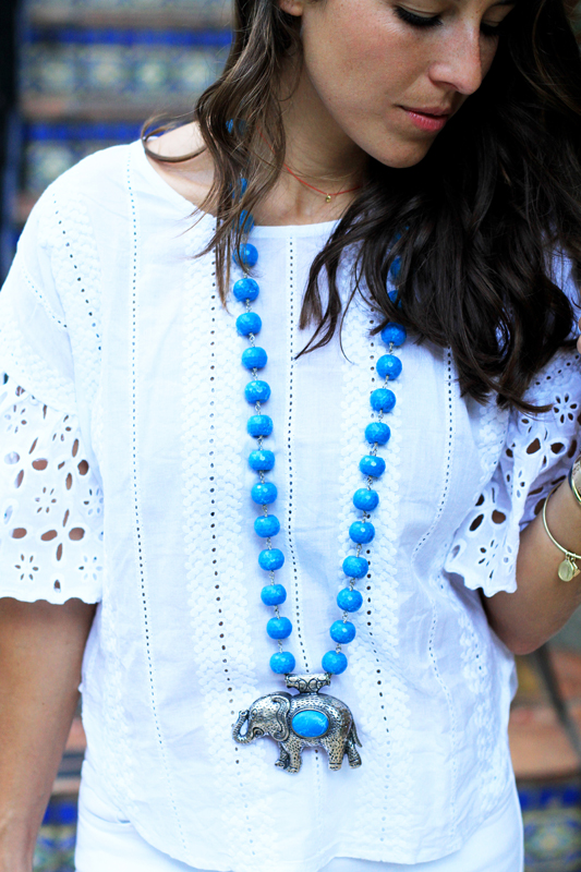 All White With Pops of Turquoise elephant necklace