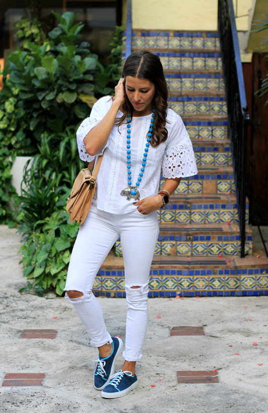 All White With Pops of Turquoise 1