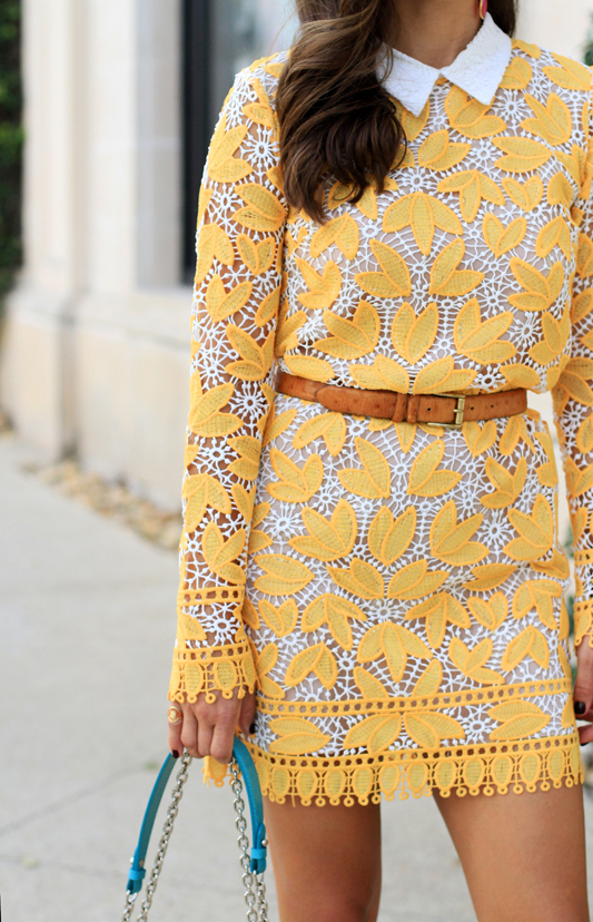 Yellow Lace Long Sleeve Mini Dress 1