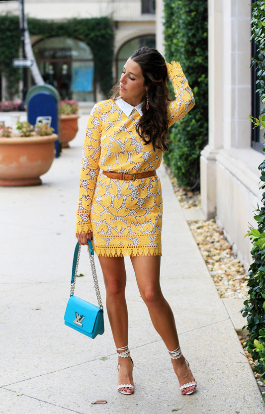 Yellow Lace Long Sleeve Mini Dress with teal bag
