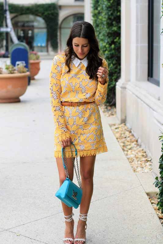 Yellow Lace Long Sleeve Mini Dress by Endless Rose