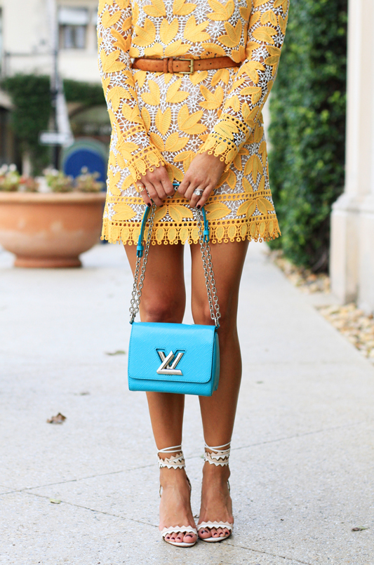 Yellow Lace Long Sleeve Mini Dress + Louis Vuitton