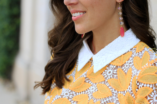 Yellow Lace Long Sleeve Mini Dress + pink earrings