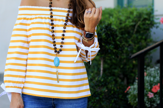 Mustard Yellow Off the Shoulder Stripes details