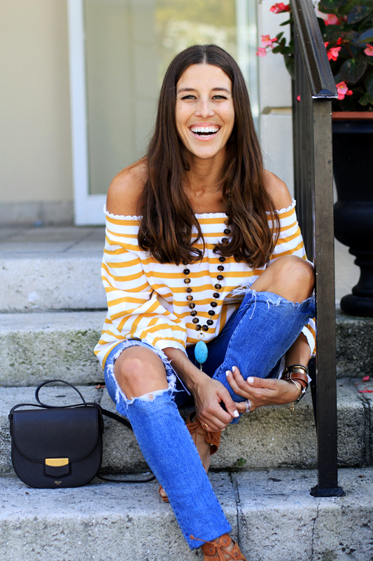 Mustard Yellow Off the Shoulder Stripes 11