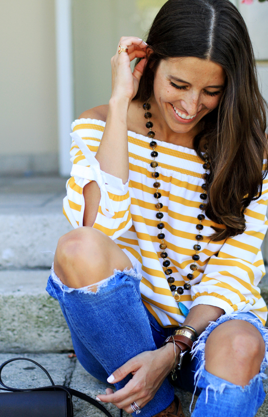 Mustard Yellow Off the Shoulder Stripes 14