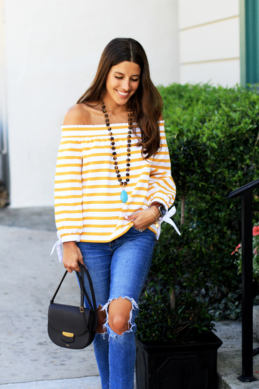 Mustard Yellow Off the Shoulder Stripes 10