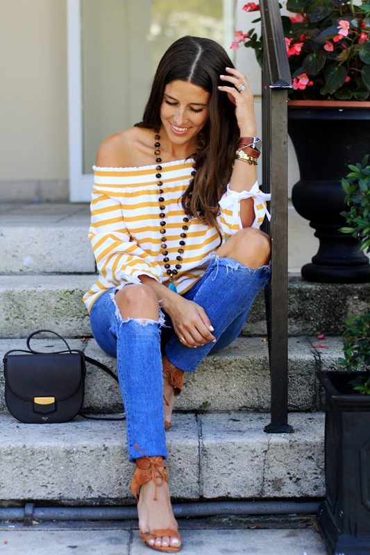 Mustard Yellow Off the Shoulder Stripes
