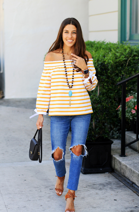 Mustard Yellow Off the Shoulder Stripes 5