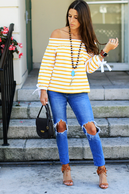Mustard Yellow Off the Shoulder Stripes 3