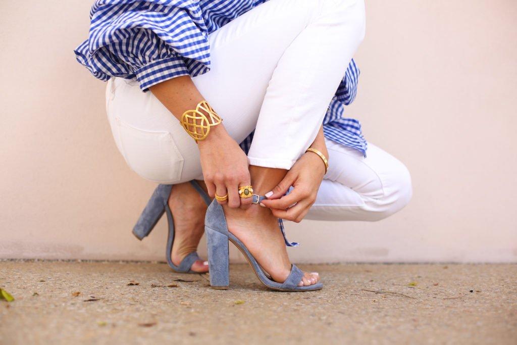 Blue Plaid Wrap Top & Sleeves 3