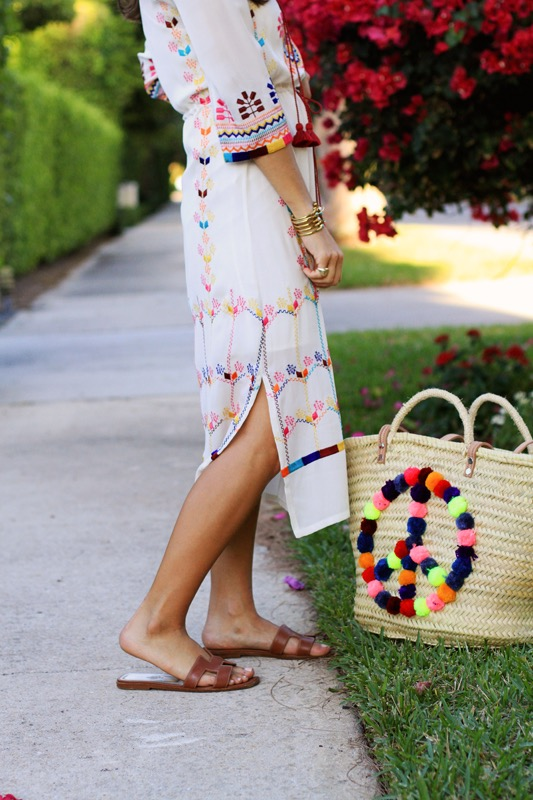 Figue Embroidered Dress + Peace Sign Bag