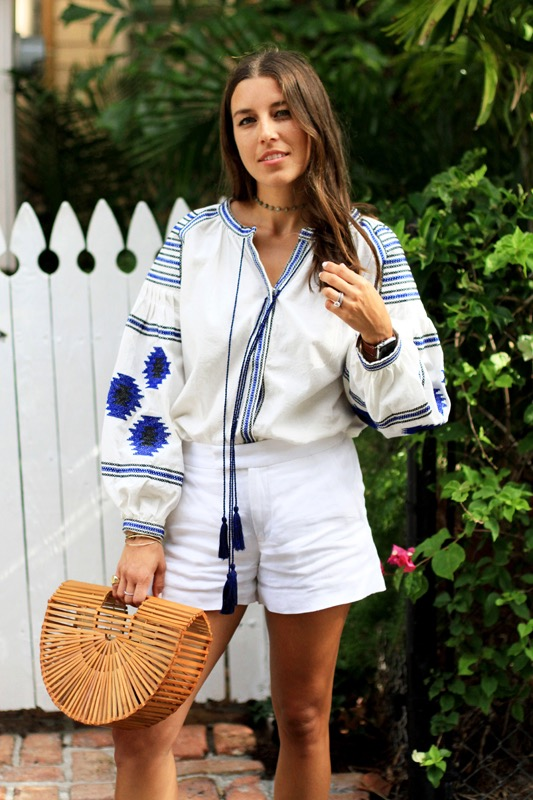 Blue white Embroidered Blouse 2