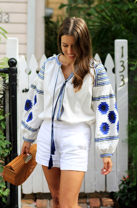 Blue White Embroidered Blouse 3