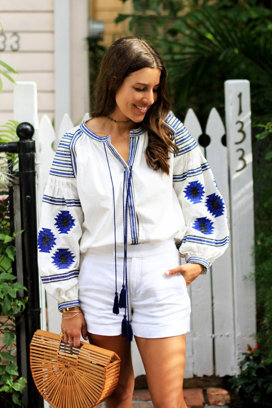 Blue White Embroidered Blouse 4