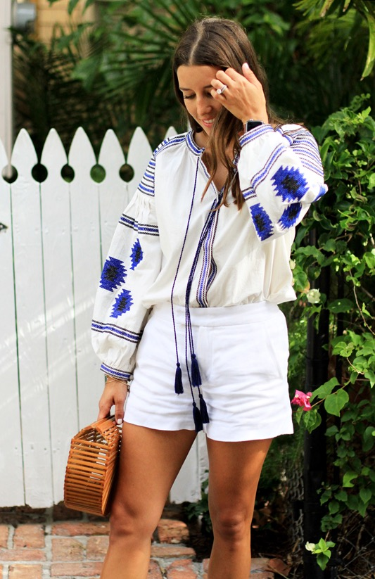 Blue White Embroidered Blouse 5