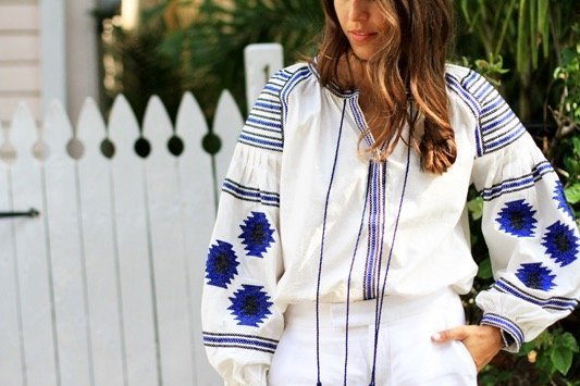 Blue White Embroidered Blouse