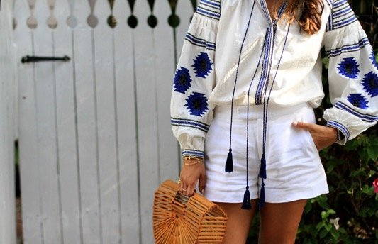 Blue White Embroidered Blouse + White Shorts