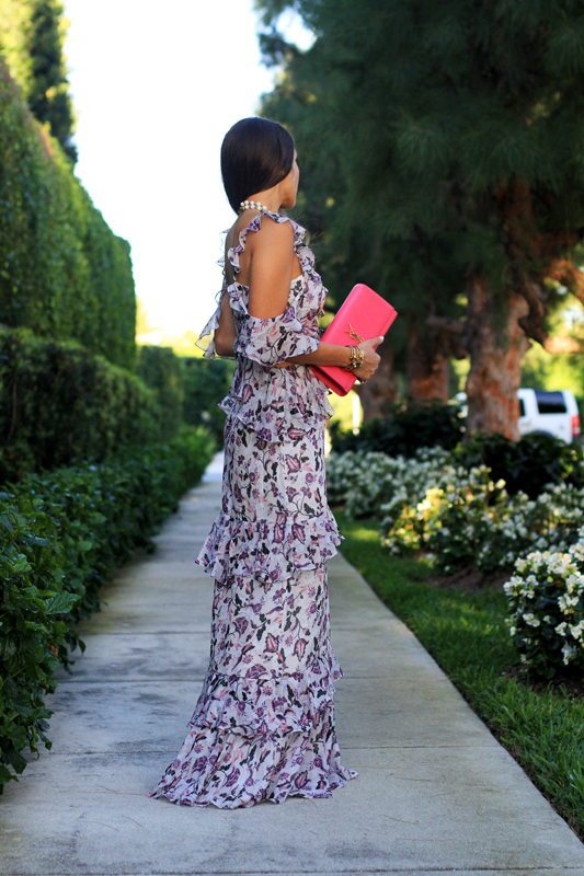 AMUR Gown for Springtime Wedding with pink clutch